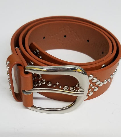 Womens Silver Studded Camel Color Belt