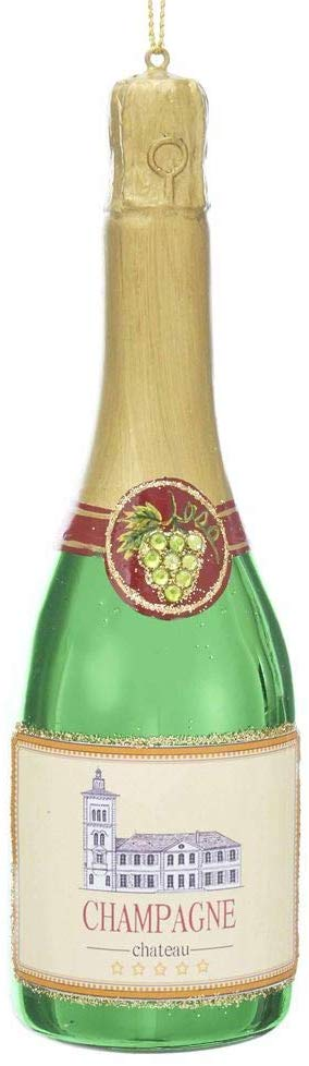 Glass Champagne Bottle 6 inch Christmas Ornament