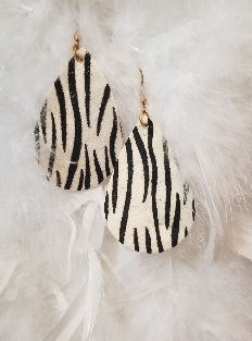 Zebra Vegan Leather Leaf Shaped Dangle Earrings