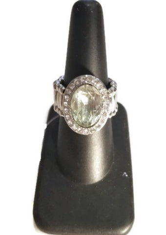 Clear Oval Stone Rhinestone Stretch Ring