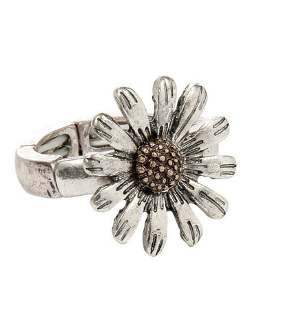 Silver Daisy Stretchable Ring