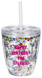 Happy Birthday You Sparkle Double Wall Sequin Tumbler w Lid Straw
