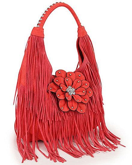 Faux Leather  Suede Flower Hobo Purse Coral