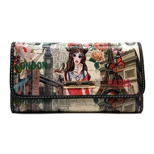 Designer Inspired Fashion Girl Trifold Checkbook  Wallet