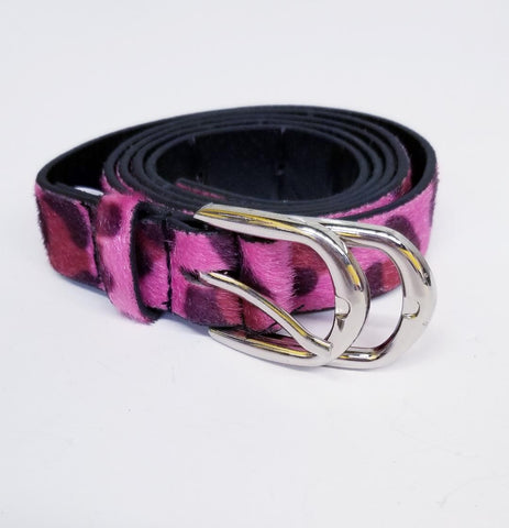 Fuschia Leopard Print Fuzzy Fashion Belt