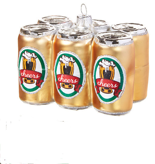 Gold 6 pk Beer Ornament