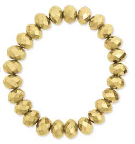 Gold Metallic Facet Glass Bead Bracelet