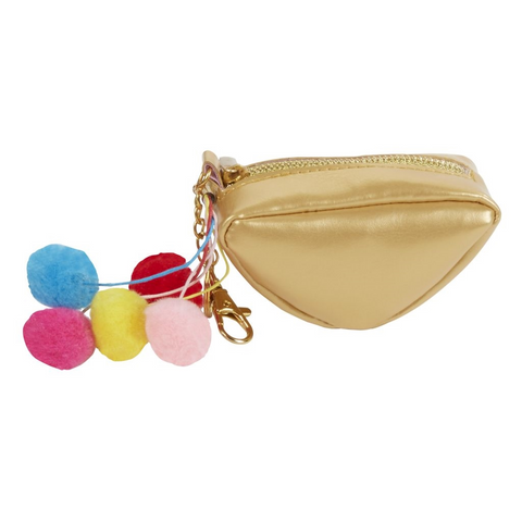 Gold Coin Purse with Pom Poms