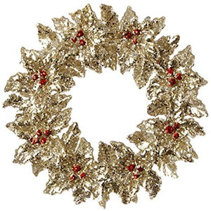 Gold Red Glitter Holly Wreath Christmas Ornament