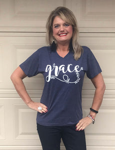 Grace Triblend V Neck Short Sleeve T Shirt