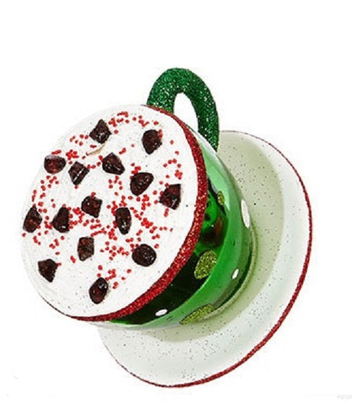 Green Cappuccino Coffee Cup and Saucer Christmas Ornament
