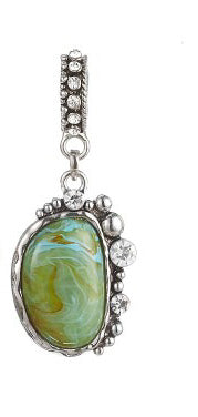 Green Stone Rhinestone Interchangeable Scarf Charm Slide