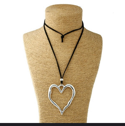 Silver Heart Long Faux Suede Necklace