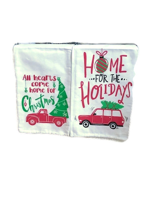 Set of Two  Home for The Holiday Kitchen Christmas Tea Towels