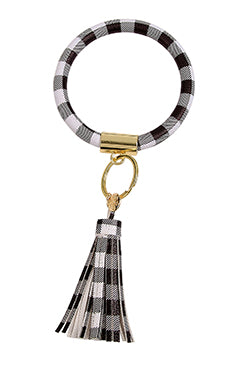 Black & White Houndstooth Purse Bling Bracelet Key Ring