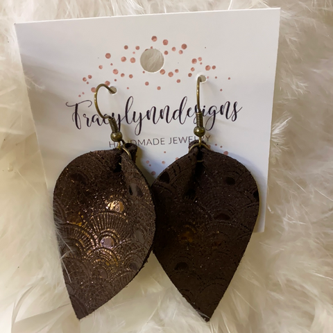 Metallic Brown Large Leaf Leather Earrings Made In USA