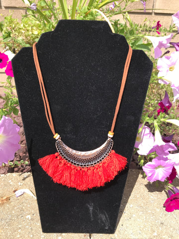 Bohemian Feather Tassel Choker Statement Necklace Red
