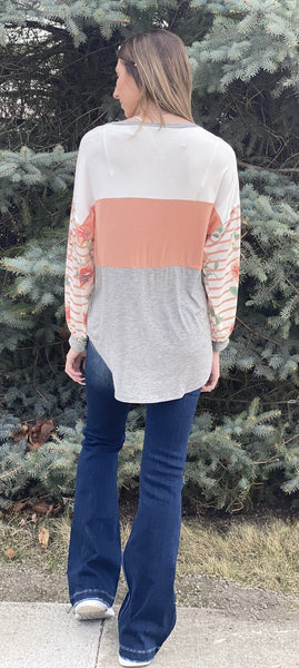 Color Block Striped Floral Puff Sleeve Top