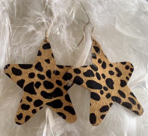 Faux Suede Cheetah Print Star Earrings