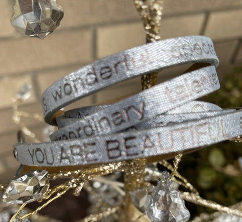 Leather Foil Stamped Inspirational  Wrap Around You Look Beautiful Bracelet Metallic Gunmetal