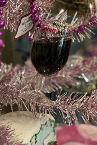 Merry Wine Mas Red Wine Glass Ornament