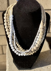 Natural Wood White Bead Statement Necklace