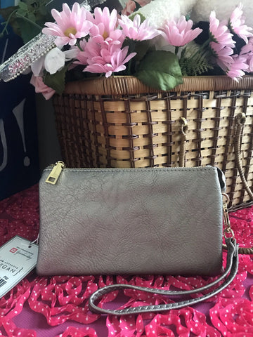 Monogrammable 3 Compartment Wristlet Crossbody Pewter
