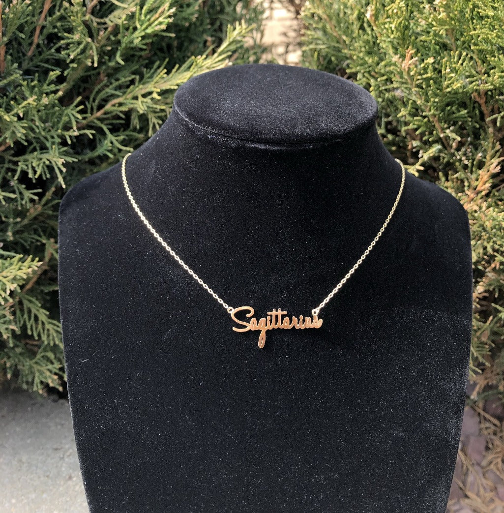 Sagittarius Handwritten Gold Tone Zodiac Chain Necklace