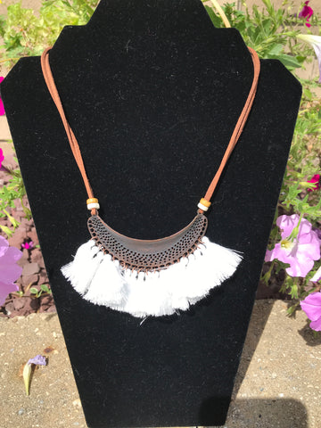 Bohemian Feather Tassel Choker Statement Necklace White