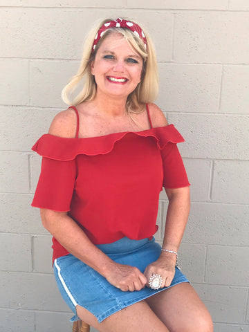 Plus Size Cold Shoulder Red Ruffle Top