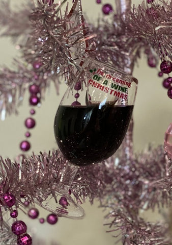 I'm Dreaming of A Wine Christmas Red Wine Glass Ornament