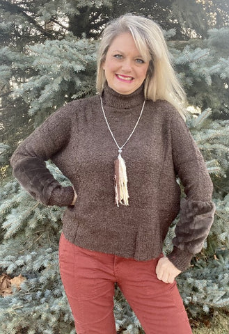 Turtleneck Knit Pullover Long Sleeve Sweater Faux Fur Sleeve