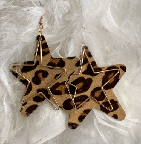 Faux Suede Star Leopard Print Gold Tone Insert Earrings