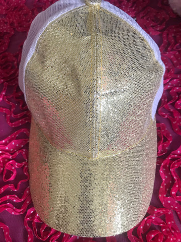 Gold Ponytail Messy Bun Baseball Cap Adjustable Hat