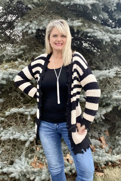 Striped Open Front Long Sleeve Distressed Cardigan Sweater