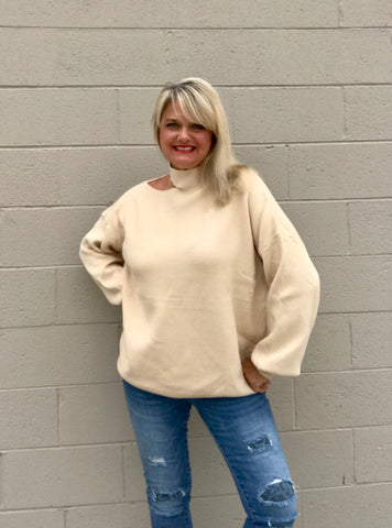 Oversize Cut Out Long Sleeve Sweater