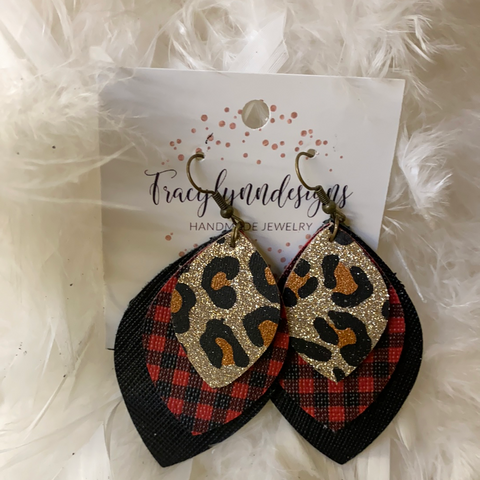 Triple Black Plaid Leopard Leaf Leather Earrings