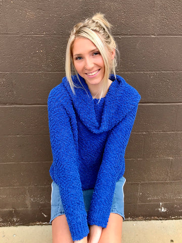 Popcorn Knit Long Sleeve Cowl Neck Sweater