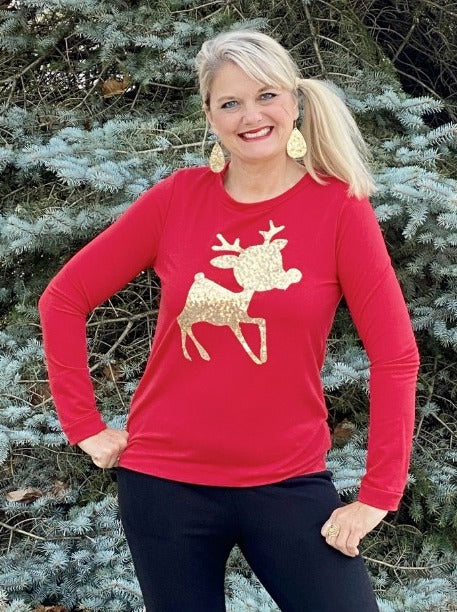 Gold Sequin Baby Reindeer Sweatshirt Top
