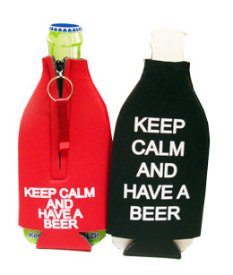 Black Keep Calm and have a Beer Bottle Cooler