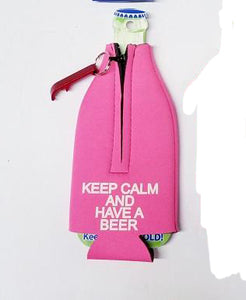 Pink Keep Calm and have a Beer Bottle Cooler