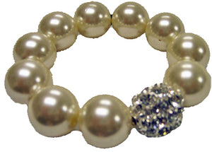 Stretch Pearl Rhinestone Bauble  Bracelet