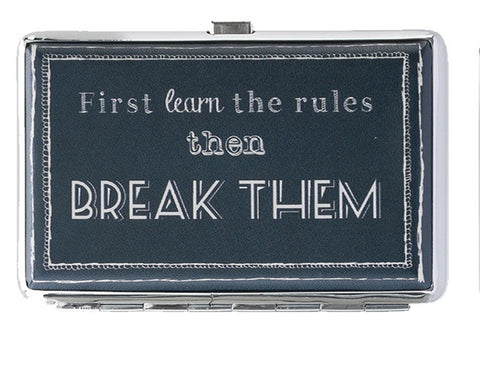 First Learn the Rules Business Card Holder