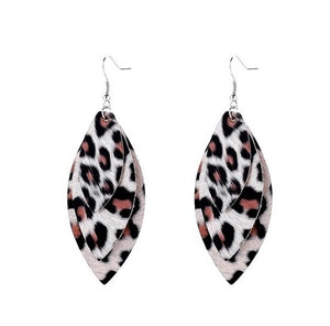 Leopard Print Leaf Leather Earrings