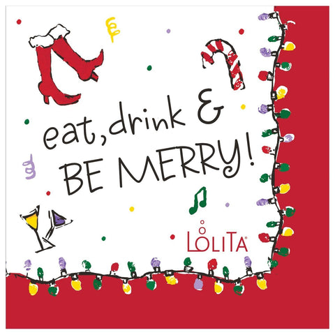 Christmas Cocktail  Napkins Eat Drink & Be Merry