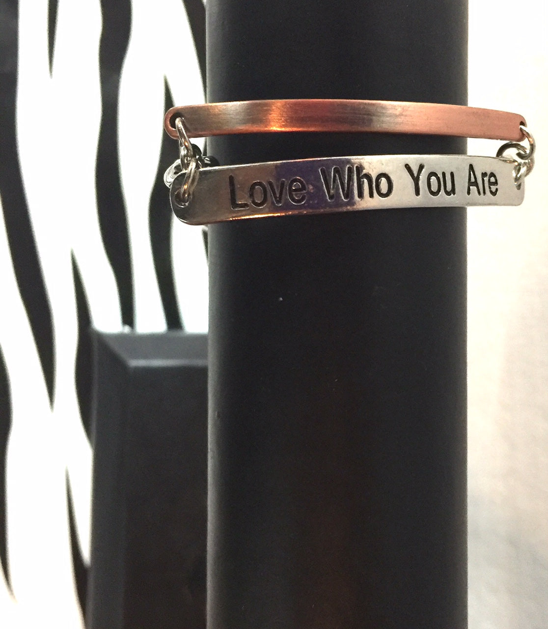 Love Who You Are  Mixed Metal Chain Link Bracelet