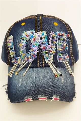 Love Distressed Frayed Dark Denim Baseball Cap