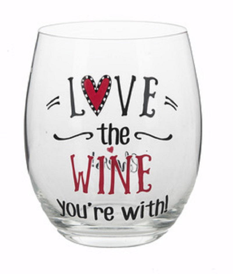 Red Love the Wine You're With Stemless Wine Glass