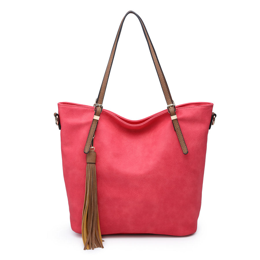 Pink Hobo Tote Purse Contrast Handle