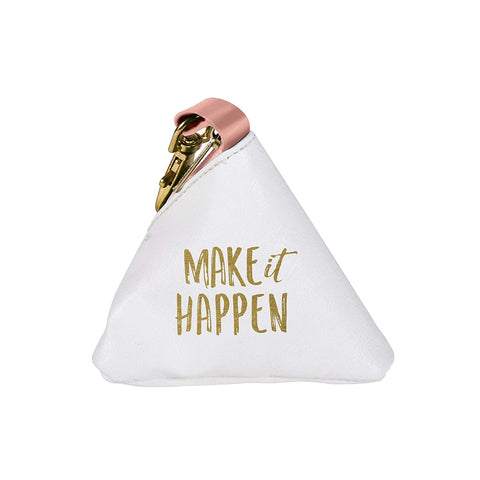 White Canvas Make it Happen Triangle Coin Change Purse
